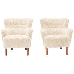 Pair of Danish Easy Chairs, Lambskin Upholstery