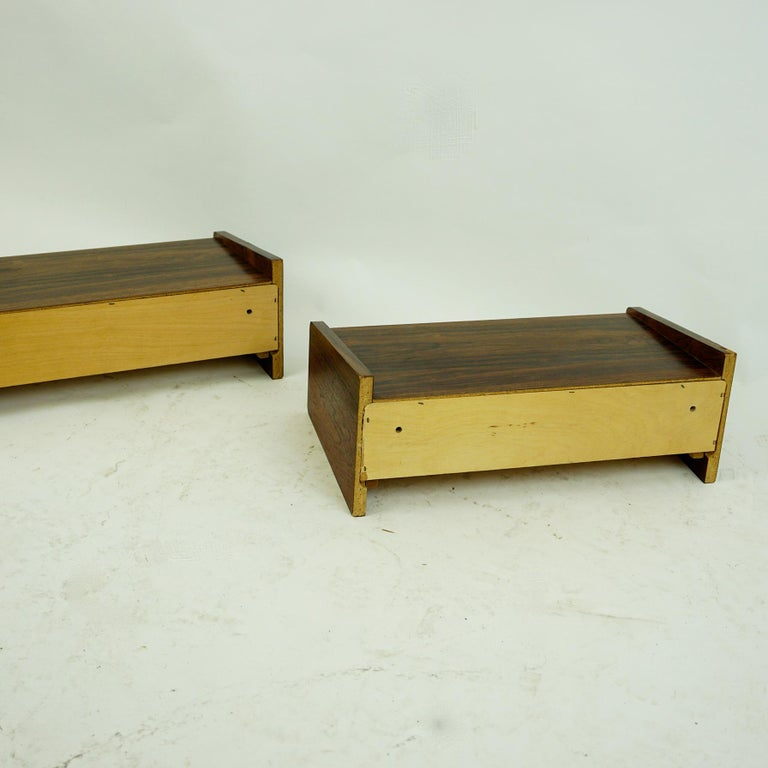Pair of Danish Floating Rosewood Nightstands with Drawers from the 1960s For Sale 5