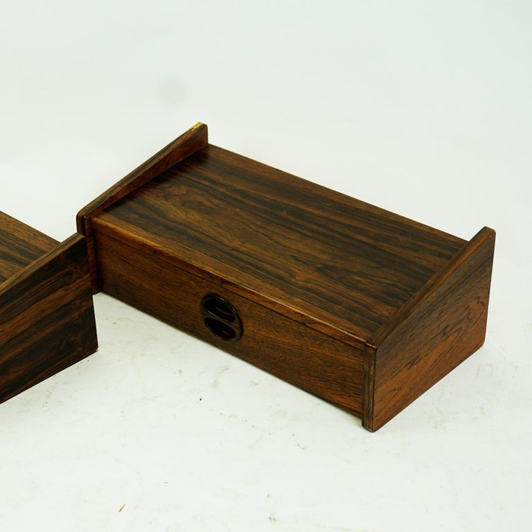 Pair of Danish Floating Rosewood Nightstands with Drawers from the 1960s For Sale 4