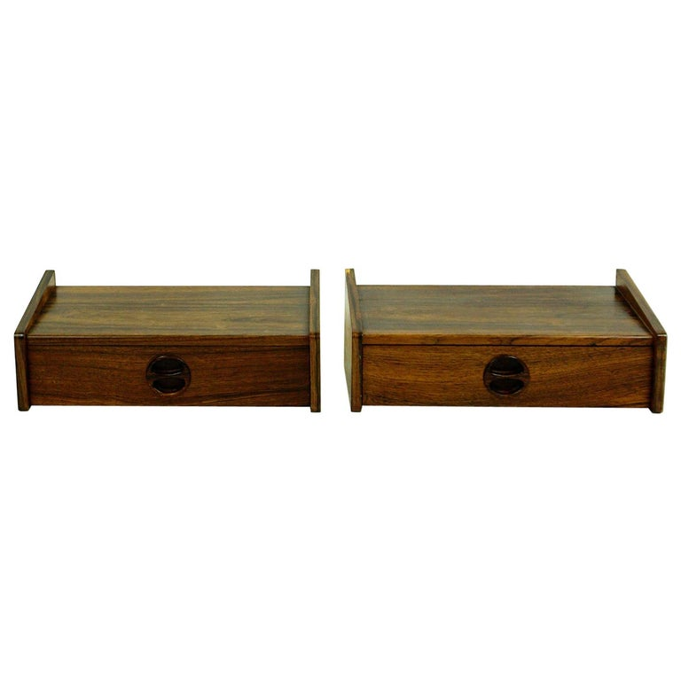 Pair of Danish Floating Rosewood Nightstands with Drawers from the 1960s For Sale