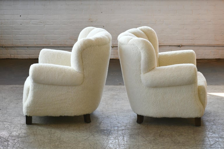 Pair of Danish Fritz Hansen Style Large Size Club Chair in Lambswool, 1940s 1