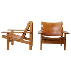 Pair of Danish Hunting Chairs in Oak and Saddle Leather by Kurt Østervig