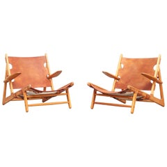 Pair of Danish Hunting Lounge Chairs by Børge Mogensen for Fredericia, 1950s