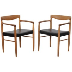 Pair of Danish H.W. Klein oak and leather chairs for Bramin