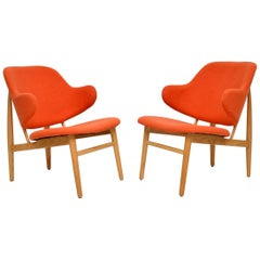 Pair of Danish IB Kofod Larsen Shell Chairs