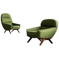 Pair of Danish Illum Wikkelso Style High and Low Lounge Chairs by Leif Hansen