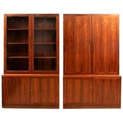 Pair of Danish Kai Winding Rosewood Alcove Bookcases, circa 1970