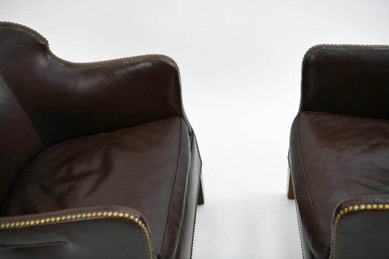 Pair of Danish Leather and Brass Tack Library Chairs For Sale 6
