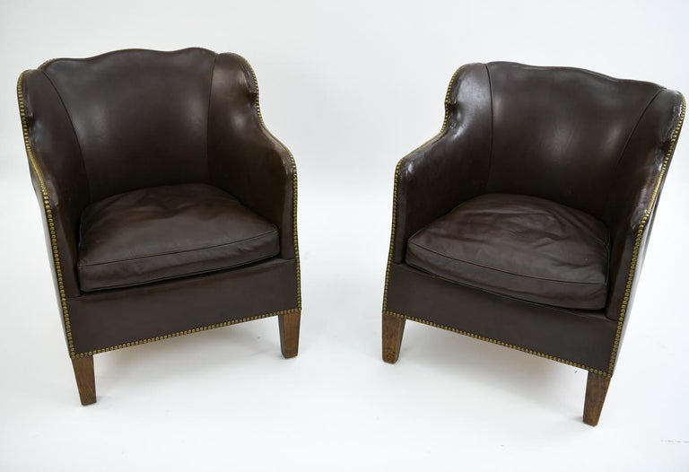 Pair of Danish Leather and Brass Tack Library Chairs In Good Condition For Sale In Norwalk, CT