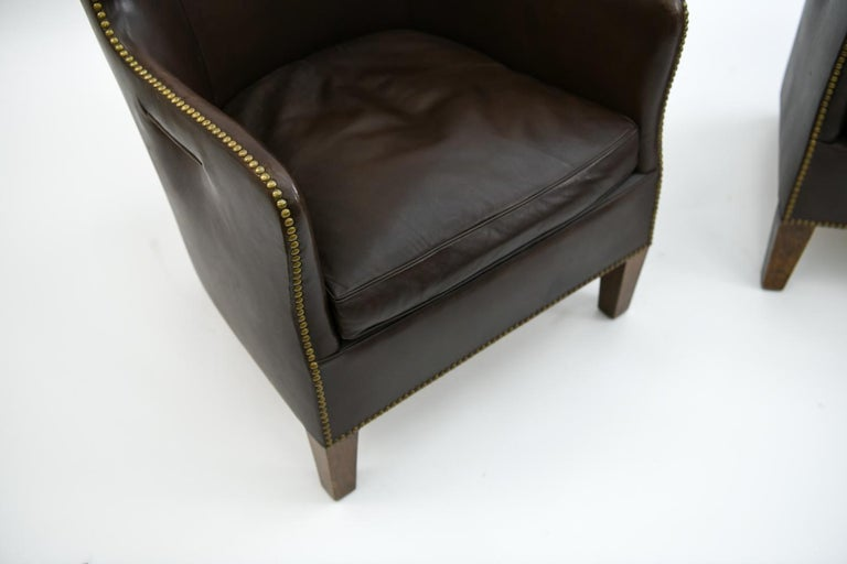 Pair of Danish Leather and Brass Tack Library Chairs For Sale 1