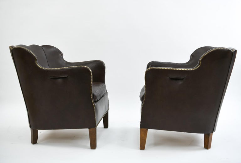 Pair of Danish Leather and Brass Tack Library Chairs For Sale 3