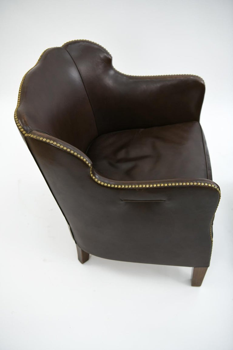 Pair of Danish Leather and Brass Tack Library Chairs For Sale 4