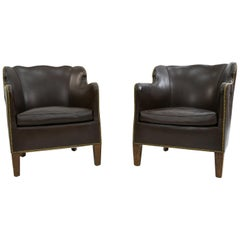 Pair of Danish Leather and Brass Tack Library Chairs