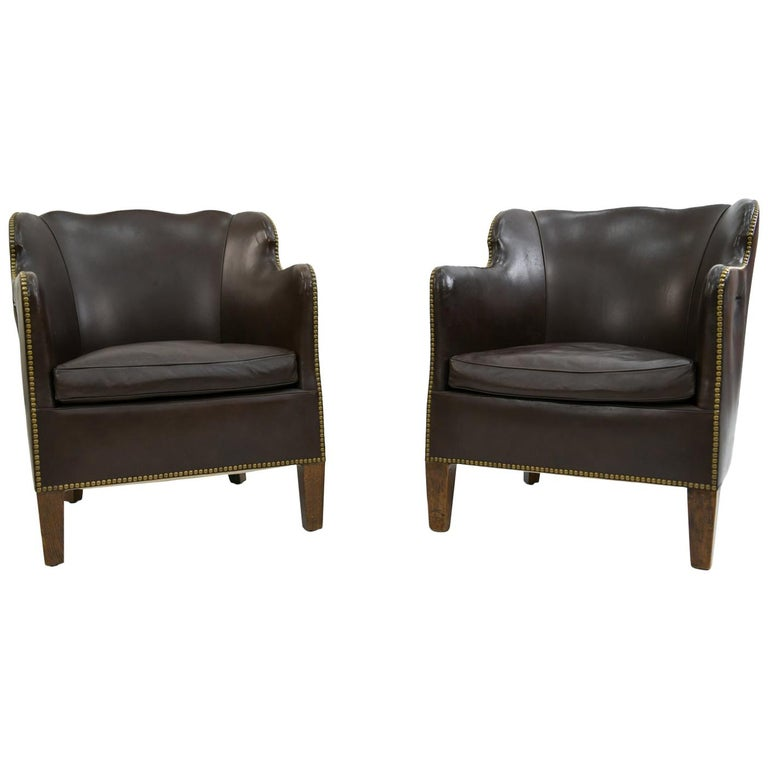 Pair of Danish Leather and Brass Tack Library Chairs For Sale