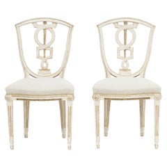 Pair of Danish Louis XVI Chairs in White Painted and Gold Beech