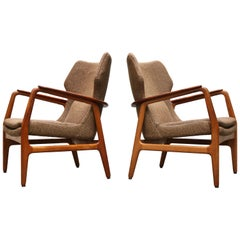 Pair of Danish Lounge Chairs by Aksel Bender Madsen 1952 Bovenkamp Teak Brown