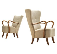 Pair of Danish Lounge Chairs in Off-White Upholstery