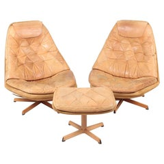 Pair of Danish Lounge Chairs in Patinated Leather by Madsen & Schubell, 1960s