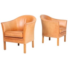 Pair of Danish Lounge Chairs in Patinated Leather Designed by Lars Kalmar