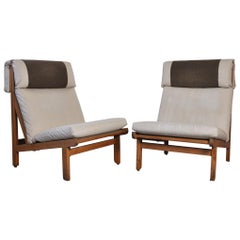 Pair of Danish Lounge Chairs in Pitch Pine by Bernt Petersen