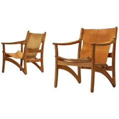 Pair of Danish Lounge Chairs in Teak and Cognac Leather