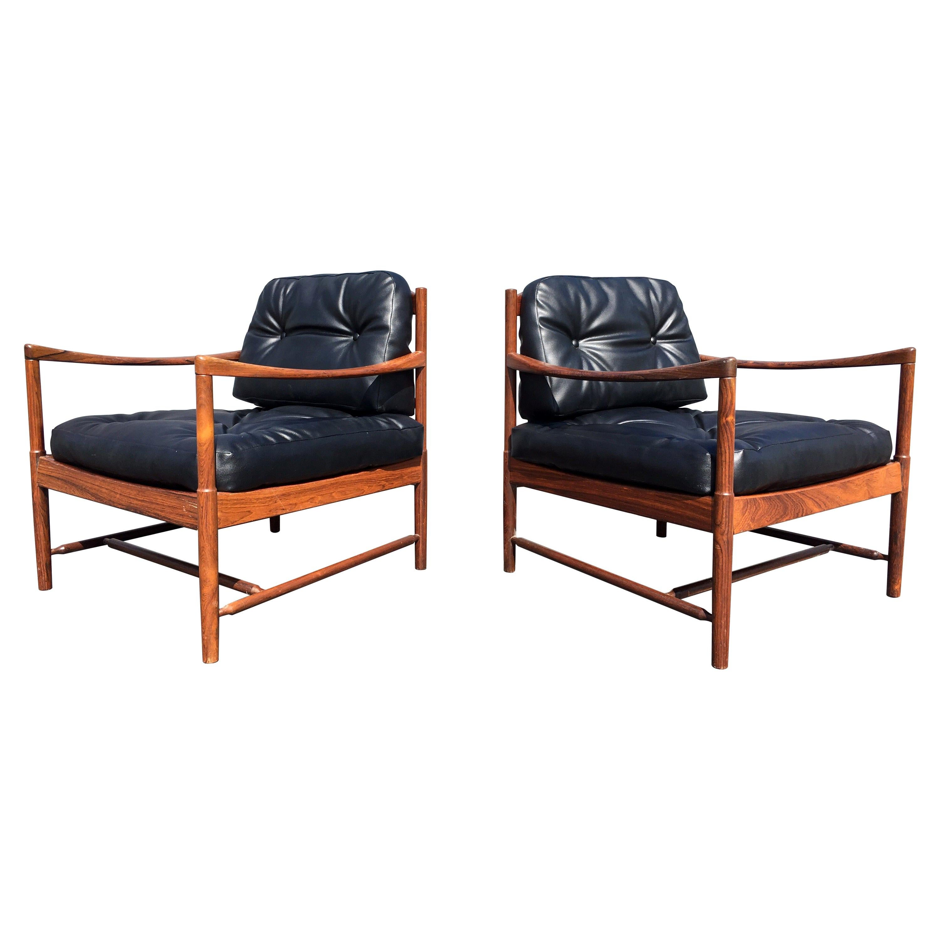 Pair of Danish Lounge Chairs, Rosewood, Denmark, 1960s
