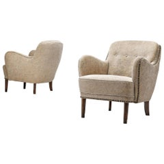 Pair of Danish Lounge Chairs with Brass Nails