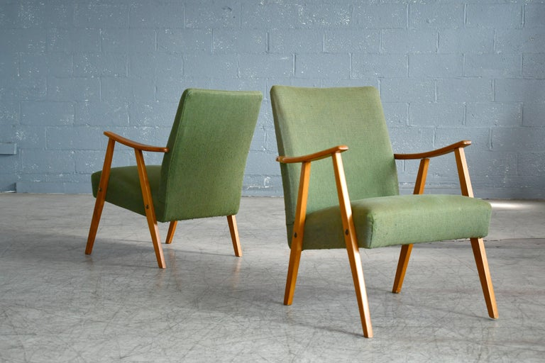 Mid-Century Modern Pair of Danish Midcentury Arne Vodder Style Easy Chairs in Elmwood, 1960s For Sale