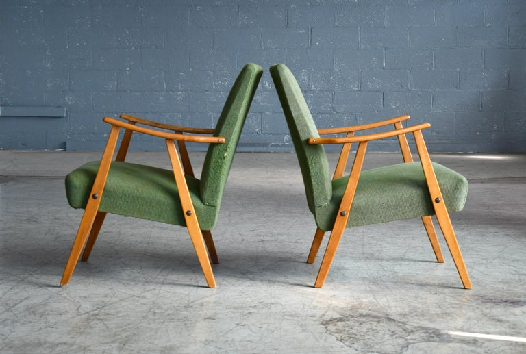 Mid-20th Century Pair of Danish Midcentury Arne Vodder Style Easy Chairs in Elmwood, 1960s For Sale