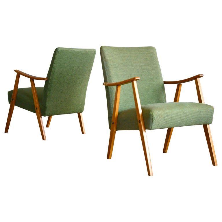 Pair of Danish Midcentury Arne Vodder Style Easy Chairs in Elmwood, 1960s For Sale