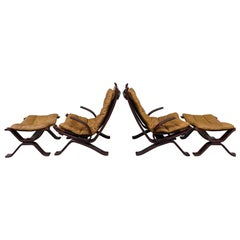 Pair of Danish Mid-Century 'Focus' Lounge Chair & Ottoman by Bramin