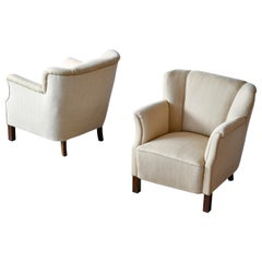 Pair of Danish Mid-Century Fritz Hansen Style Lounge Chairs, ca. 1940-50