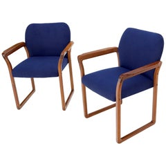 Pair of Danish Mid-Century Modern Teak Arms Chairs New Wool Upholstery