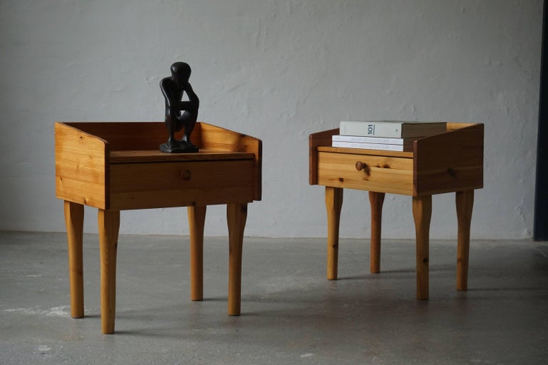 Scandinavian Modern Pair of Danish Mid Century Night Stands with Drawers in Solid Pine, 1970s For Sale