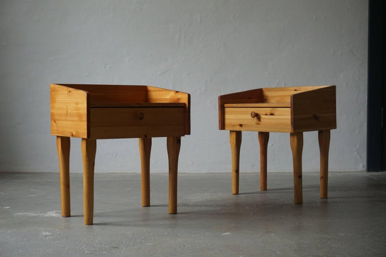 Late 20th Century Pair of Danish Mid Century Night Stands with Drawers in Solid Pine, 1970s For Sale
