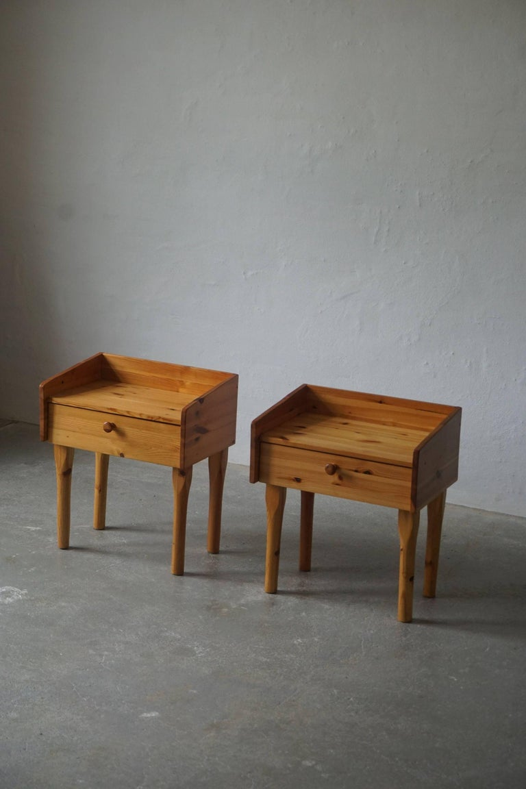 Pair of Danish Mid Century Night Stands with Drawers in Solid Pine, 1970s For Sale 2