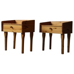 Pair of Danish Mid Century Night Stands with Drawers in Solid Pine, 1970s