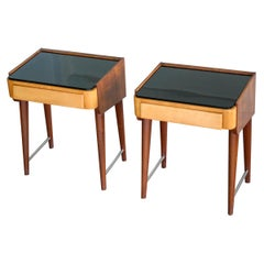 Pair of Danish Midcentury Nightstands in Teak and Elm with Black Glass Top