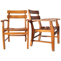 Pair of Danish Mid-Century Patinated Child Chairs in Wood, 1950s