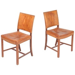 Pair of Danish Midcentury Side Chairs in Patinated Niger Leather, 1940s