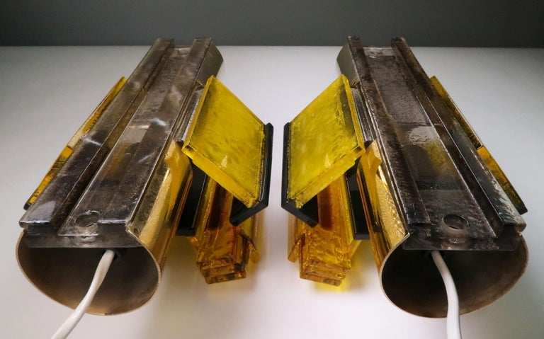 Danish Yellow, Black Acrylic Modern Space Age Wall Lights by Claus Bolby, 1970s For Sale 5