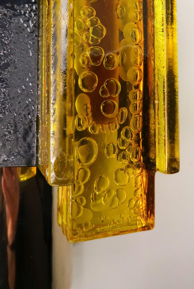 Danish Yellow, Black Acrylic Modern Space Age Wall Lights by Claus Bolby, 1970s For Sale 8