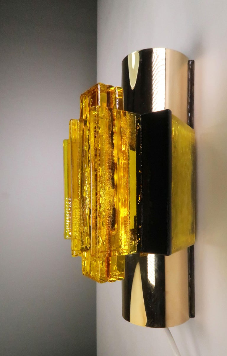Brass Danish Yellow, Black Acrylic Modern Space Age Wall Lights by Claus Bolby, 1970s For Sale