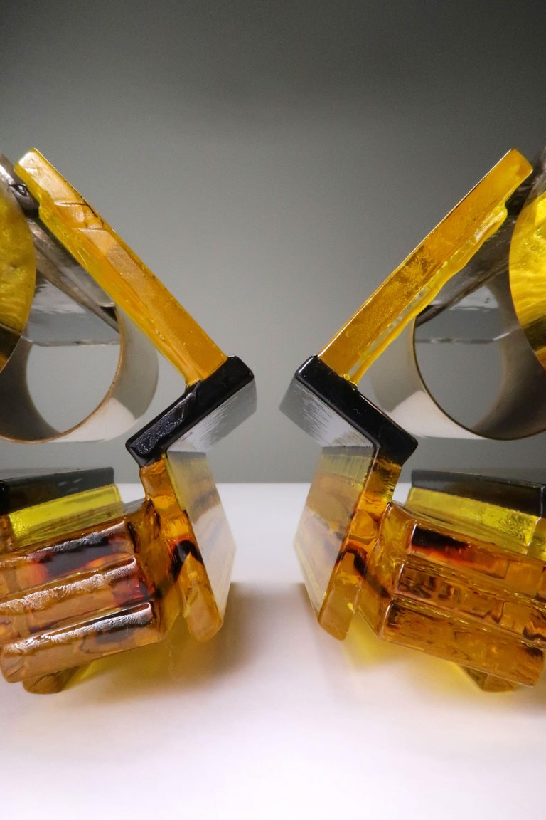 Danish Yellow, Black Acrylic Modern Space Age Wall Lights by Claus Bolby, 1970s For Sale 1
