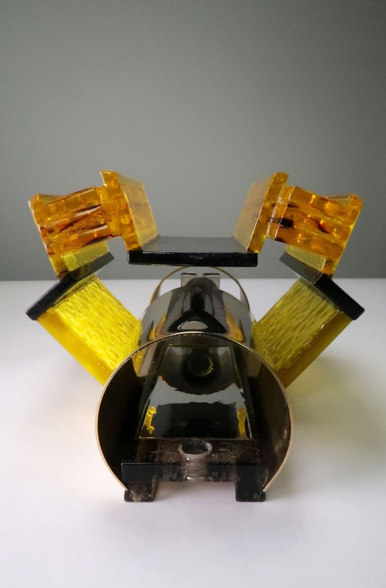 Danish Yellow, Black Acrylic Modern Space Age Wall Lights by Claus Bolby, 1970s For Sale 3