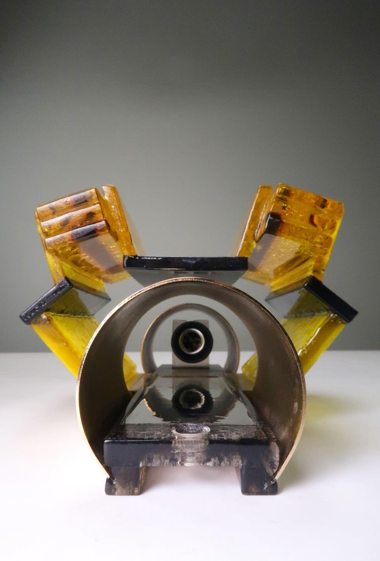 Danish Yellow, Black Acrylic Modern Space Age Wall Lights by Claus Bolby, 1970s For Sale 4