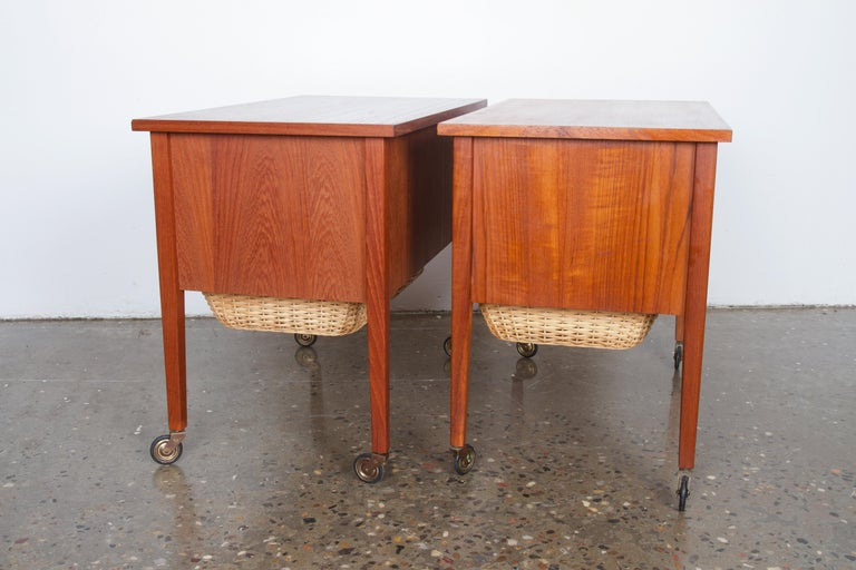 Mid-20th Century Pair of Danish Midcentury Bedside Tables in Teak, 1960s For Sale