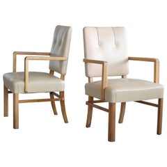 Pair of Danish Midcentury Executive Desk or Side Chairs in Beige Leather