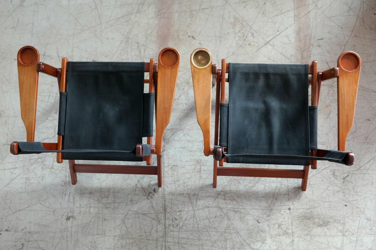 Pair of Danish Midcentury Folding Deck Chairs in Solid Teak For Sale 5