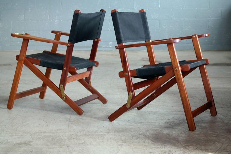 Mid-Century Modern Pair of Danish Midcentury Folding Deck Chairs in Solid Teak For Sale